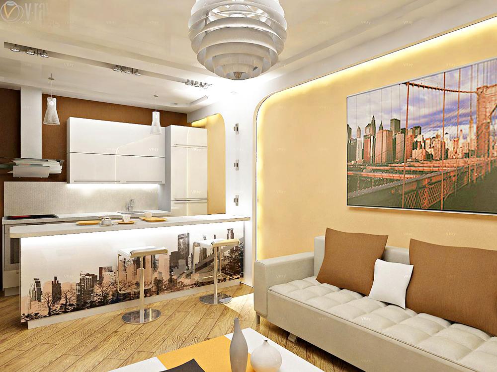 Проект интерьера 1 комнатной квартиры
